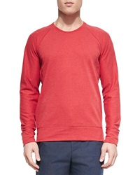 Vince Sueded Lightweight Fleece Crewneck Sweater Red