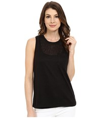 Blank Nyc Muscle Tee With Overlapping Racerback Detail Black Women's Sleeveless