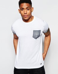Firetrap Burnout Crew Neck T Shirt With Pocket And Roll Sleeves White