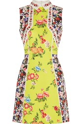 Mary Katrantzou Amore Floral Print Silk Blend Cloque Mini Dress Yellow