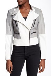 Yigal Azrouel Colorblock Genuine Leather Jacket Metallic