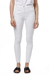 Petite Women's Topshop 'Jamie' High Rise White Skinny Jeans