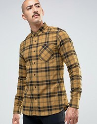 Pull And Bear Pullandbear Checked Shirt In Mustard In Regular Fit Mustard Yellow