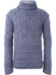 Jean Paul Gaultier Vintage Aran Knit Sweater Pink And Purple