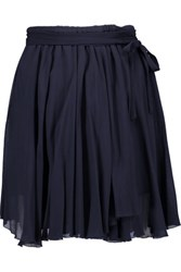 Etoile Isabel Marant Akili Georgette Wrap Mini Skirt Storm Blue
