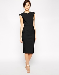 Asos Pencil Dress With Structured Fold Sleeve Black
