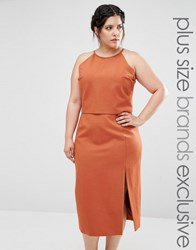 Lavish Alice Plus Double Layer Sleeveless Halter Pencil Dress Rust Beige