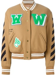 Off White Striped Varsity Jacket Brown