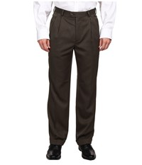 Perry Ellis Classic Fit Double Pleat Micro Melange Pant Fir Men's Casual Pants Brown