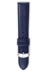 Women's Michele 18Mm Saffiano Leather Watch Strap Navy