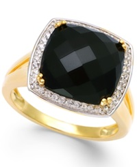 Macy's Faceted Onyx 4 1 2 Ct. T.W. And Diamond 1 5 Ct. T.W. Ring In 14K Gold