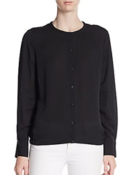Escada Embroidered Silk Button Front Blouse Black