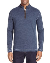 Robert Graham Quarter Zip Pullover Heather Dk Blue