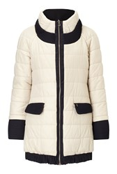 James Lakeland Reversible Puffer Coat Cream