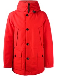 Woolrich Hooded Button Front Jacket Red