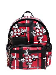 Dsquared Floral Printed Coated Canvas Backpack Red Black