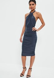 Missguided Blue Slinky High Neck Ruched Midi Dress Grey