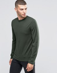 Sisley Fine Knitted Jumper With Reverse Seam Detail Green 1P3