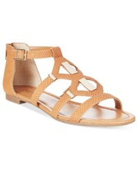 Bar Iii Rodeo Gladiator Flat Sandals Only At Macy's Women's Shoes Cognac Snake