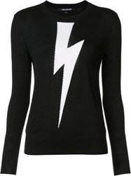 Neil Barrett Lightning Bolt Knit Jumper Black
