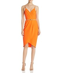 Aqua Wrap Detail Cocktail Dress Orange