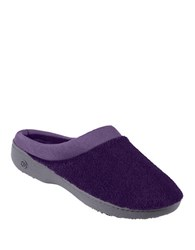 Isotoner Microterry Matte Satin Clog Slippers Purple Ink