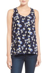 Women's Halogen Scoop Neck Woven Tank Navy Blue Linear Floral