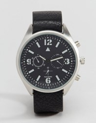 Asos Interchangeable Watch In Military Styling Black