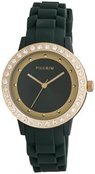 Pilgrim Green And Gold Plated Watch Green