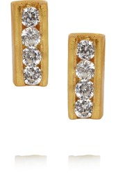 Kevia Gold Plated Cubic Zirconia Earrings Metallic