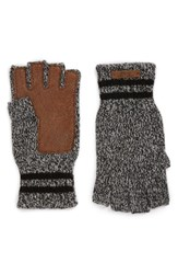 Polo Ralph Lauren Men's Ragg Merino Wool Blend Fingerless Gloves Salt And Pepper