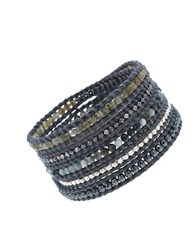 Chan Luu Sterling Silver And 14 Kt. Gold Vermeil Leather Wrap Bracelet Two Tone