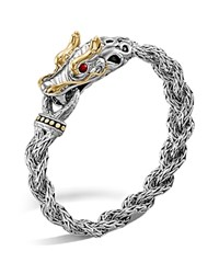 John Hardy Sterling Silver And 18K Bonded Gold Dragon Head Braided Chain Bracelet With Ruby Eyes