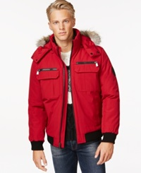 Calvin Klein Bomber Jacket With Faux Fur Hood Red