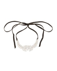 Fallon Monarch Leather And Crystal Choker Necklace Clear