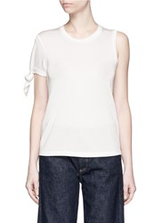 Mo And Co. Knotted Sleeve Pique T Shirt White