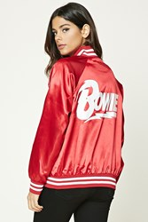 Forever 21 Bowie Satin Bomber Jacket Red White