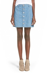 Fire Button Front Denim Skirt Indigo