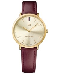 Tommy Hilfiger Women's Sophisticated Sport Burgundy Leather Strap Watch 35Mm 1781692 Red