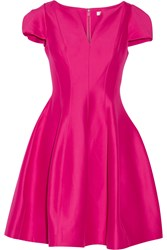 Halston Heritage Flared Cotton And Silk Blend Dress Fuchsia