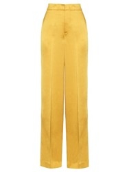 Etro Wide Leg Crepe De Chine Trousers Yellow