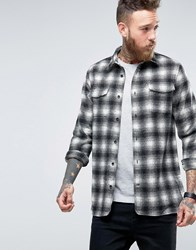 Hoxton Shirt Company Slim In Heavy Check Grey Blk