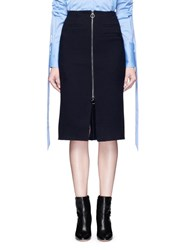 Mo And Co. Edition 10 Slit Front Wool Pencil Skirt Blue