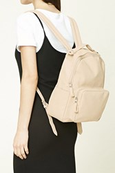 Forever 21 Faux Leather Backpack Cream