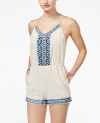 Angie Juniors' Embroidered Spaghetti Strap Romper Ivory