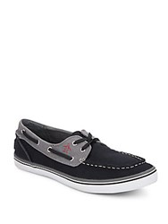 Original Penguin Catamaran Canvas Boat Shoes Black Charcoal