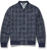 Richard James Slim Fit Checked Cotton Silk And Linen Blend Bomber Jacket Blue