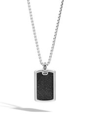 John Hardy Sterling Silver And Black Rhodium Dog Tag Pendant
