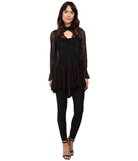 Free People Tell Tale Lace Tunic Black Women's Blouse