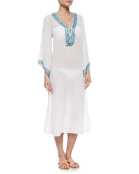 Calypso St. Barth Bhadra Sheer Embroidered Caftan White